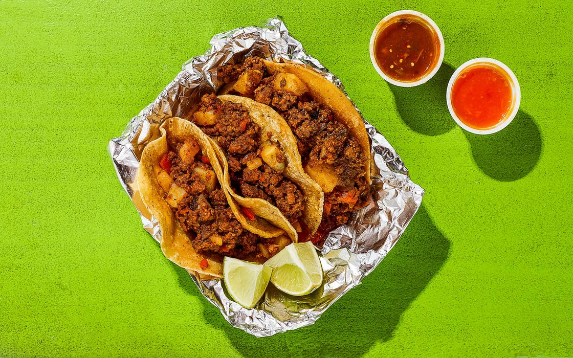 The picadillo tacos at Taco Stop in Dallas.