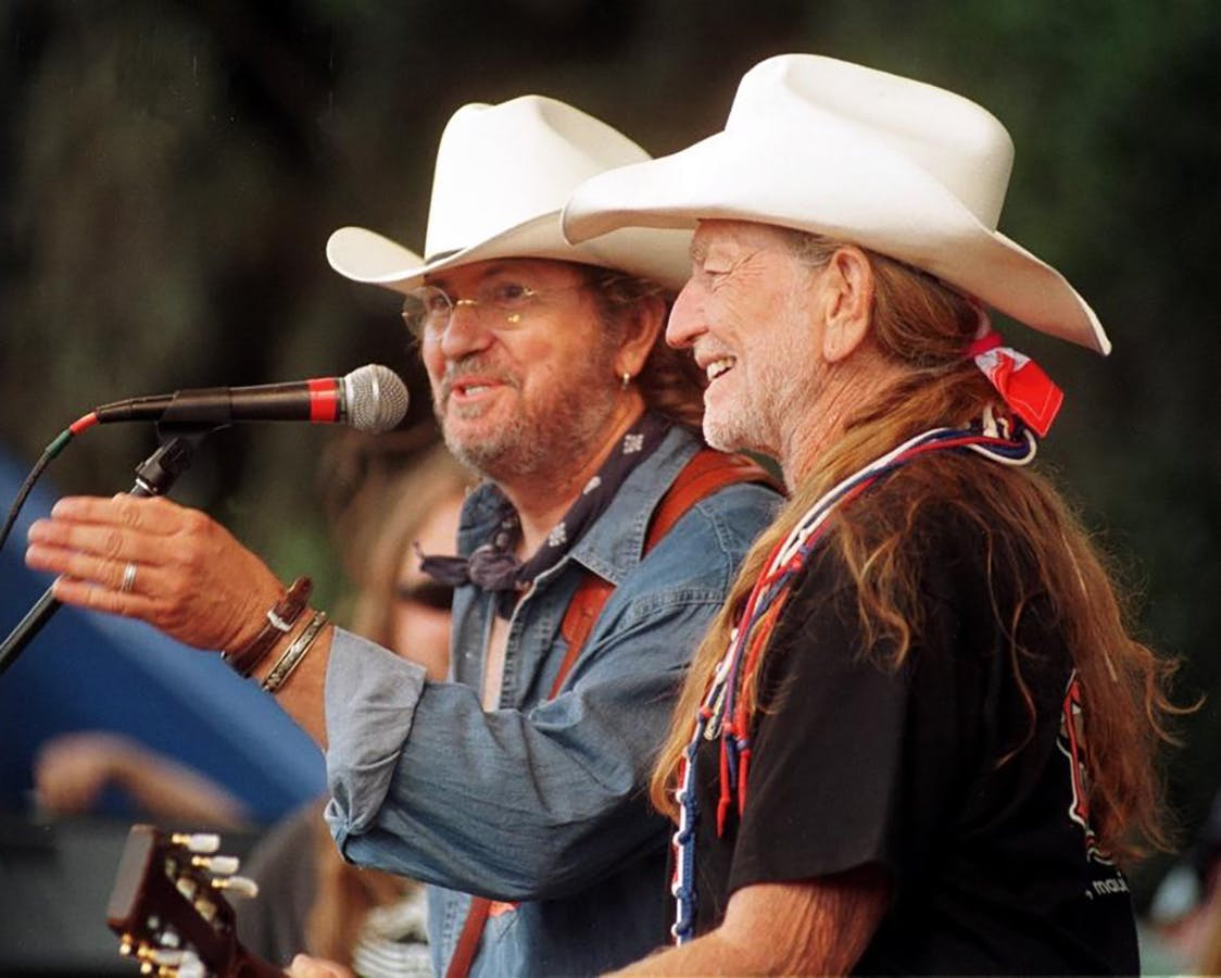 Ray Wylie Hubbard on stage with Willie Nelson during a set at Willie Nelson's Fourth of July Picnic in Luckenbach in 1999.