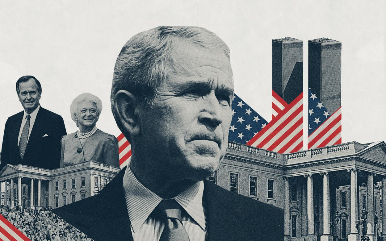 Illustration of George W. Bush, his parents George H.W. and Barbara Bush, the White House the World Trade Center