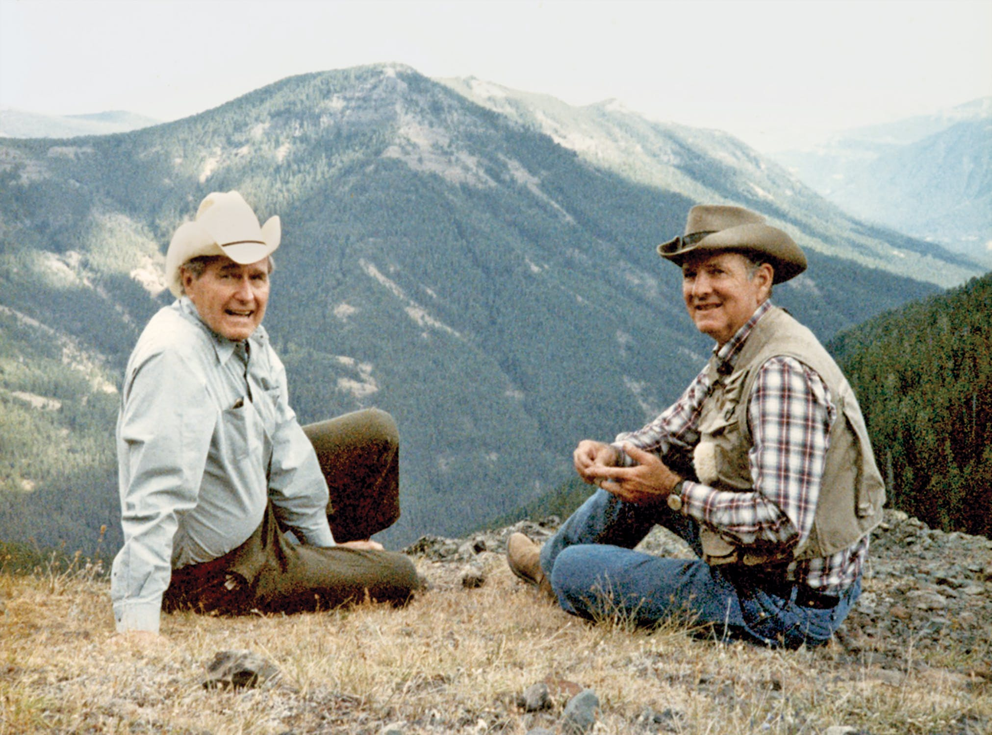 Bush and Baker during a camping and fishing trip to Wyoming