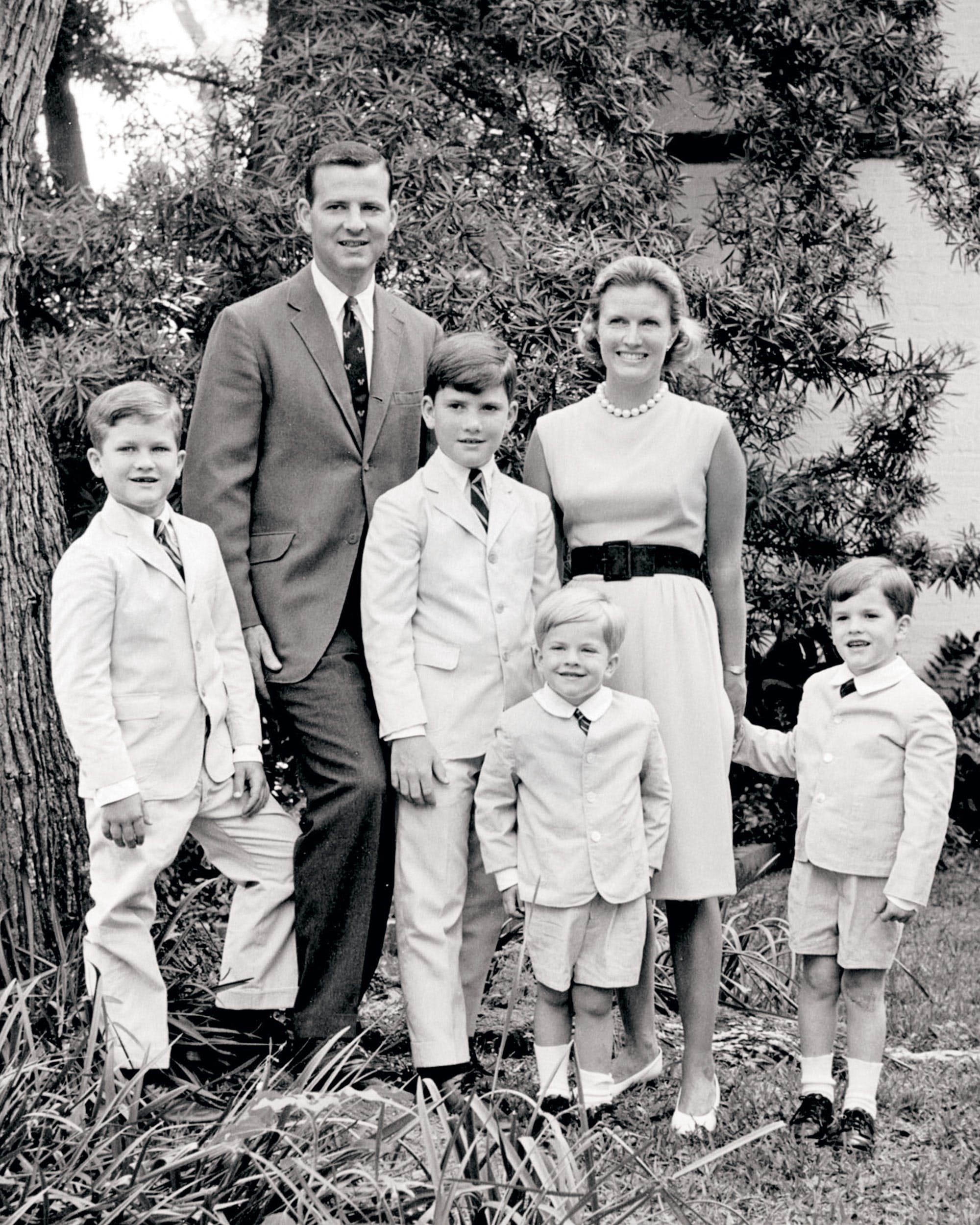 James and Mary Stuart Baker with their four boys in Houston in 1964.