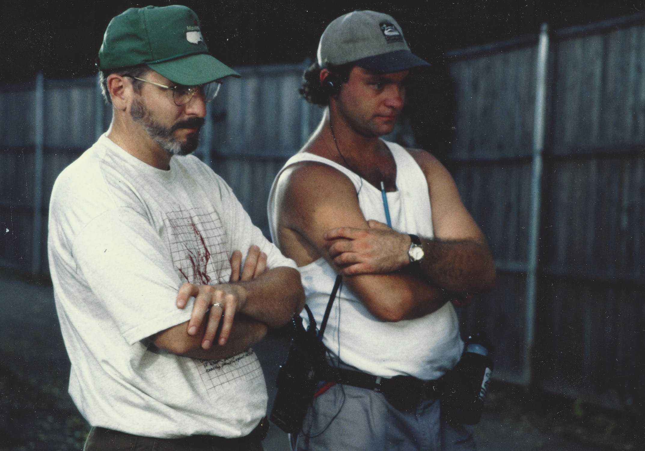 First AD Joey Stewart (left) and show creator and director Rick Duffield on set during the first season circa 1995.