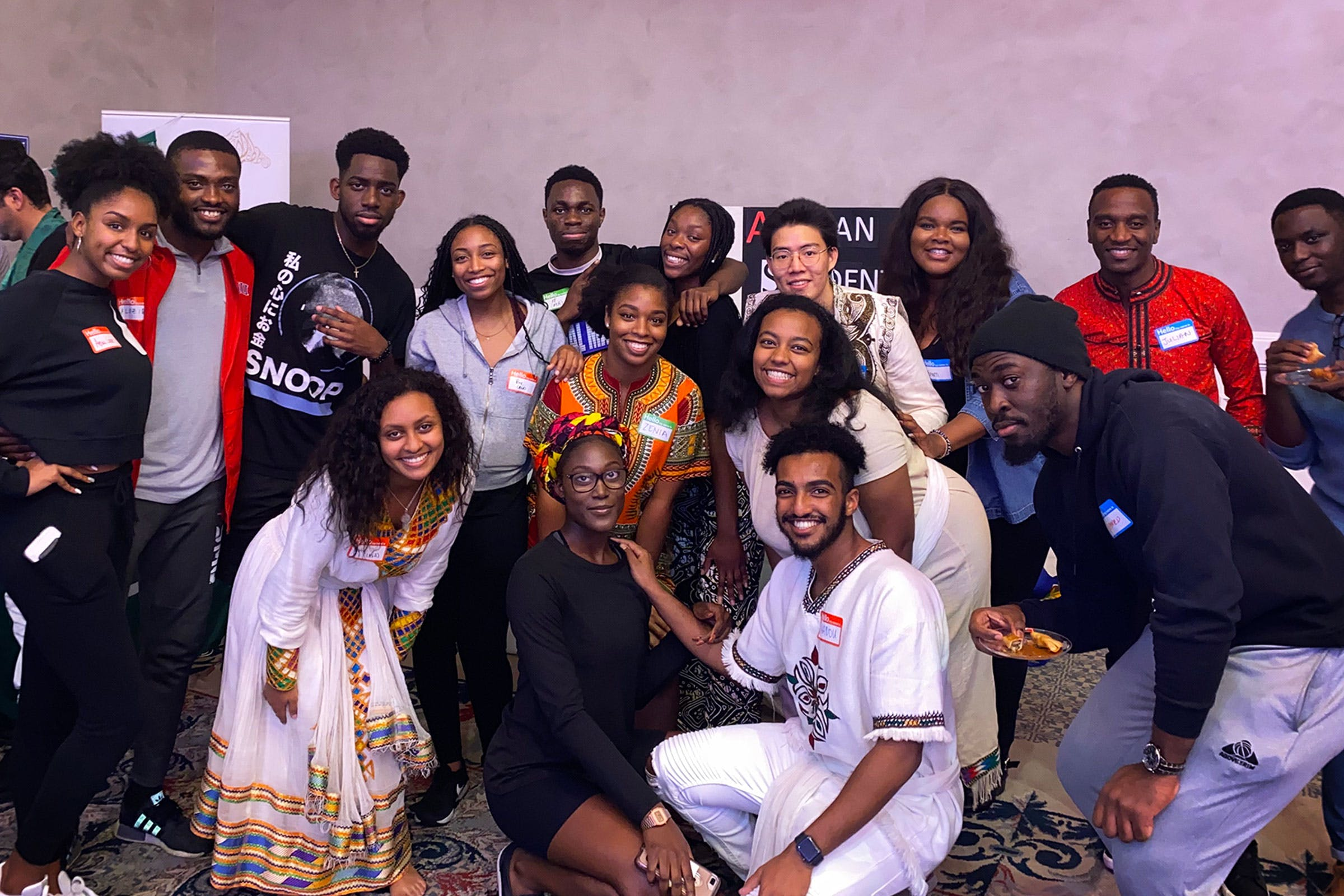Abena Marfo, center, with the African Student Association.