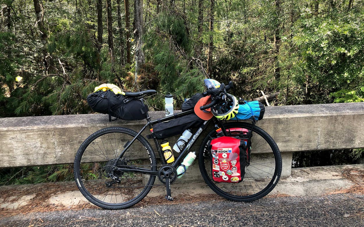 bike in piney woods