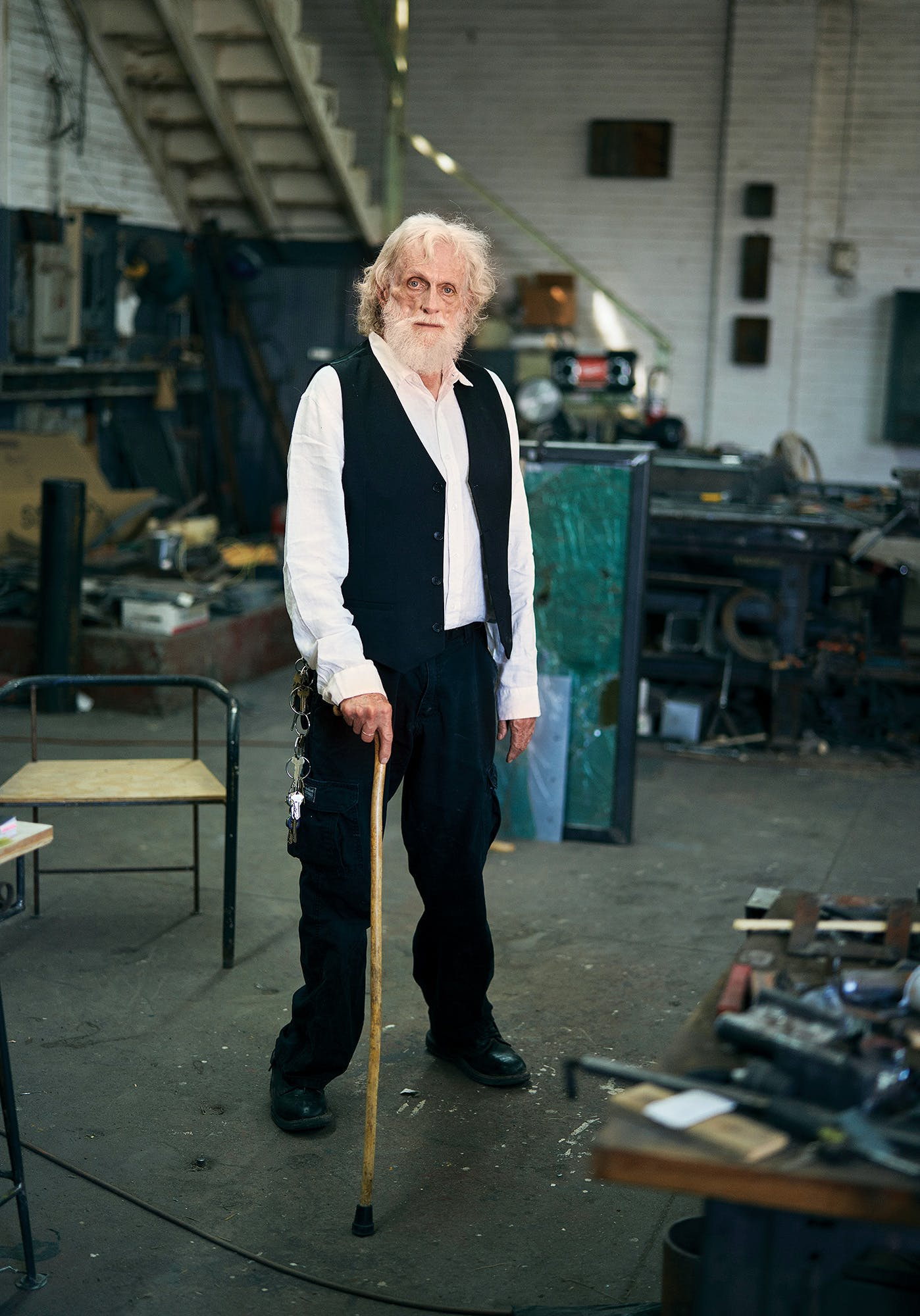 Magee in his workshop in El Paso in July.
