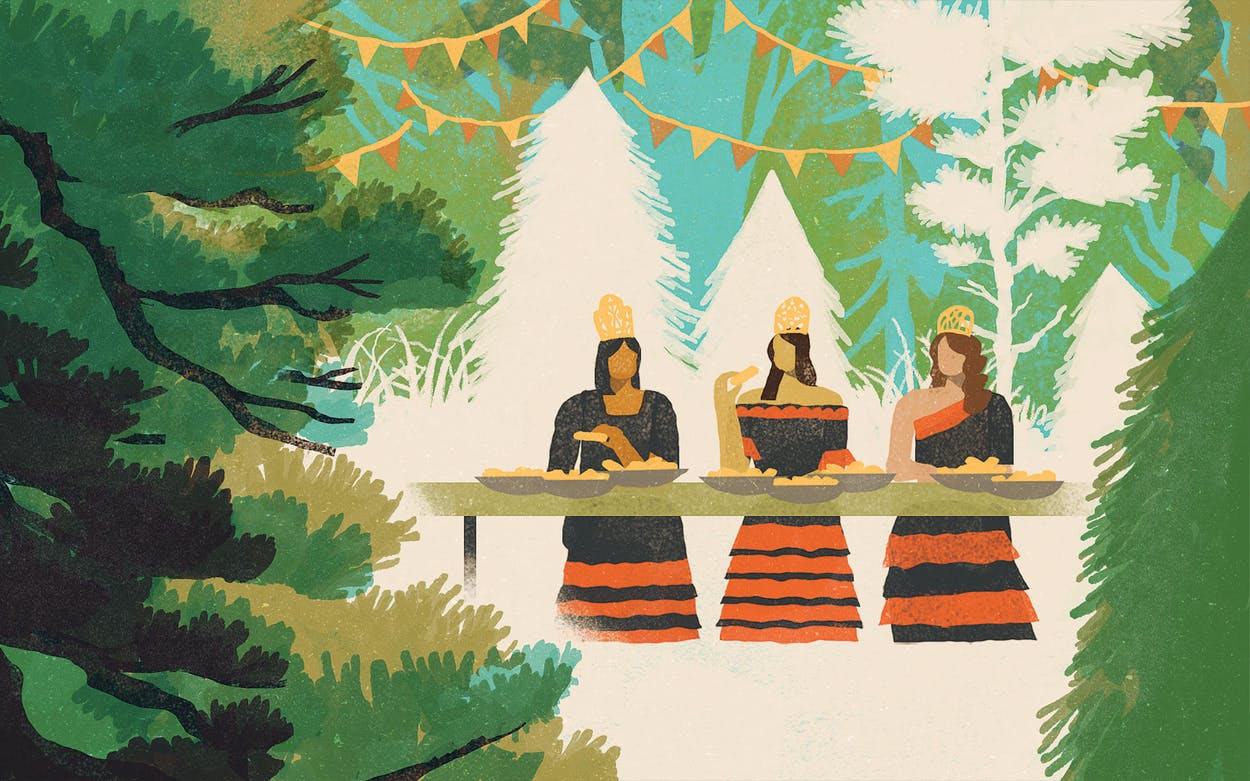 illustration of three festival queens eating tamales in the piney woods