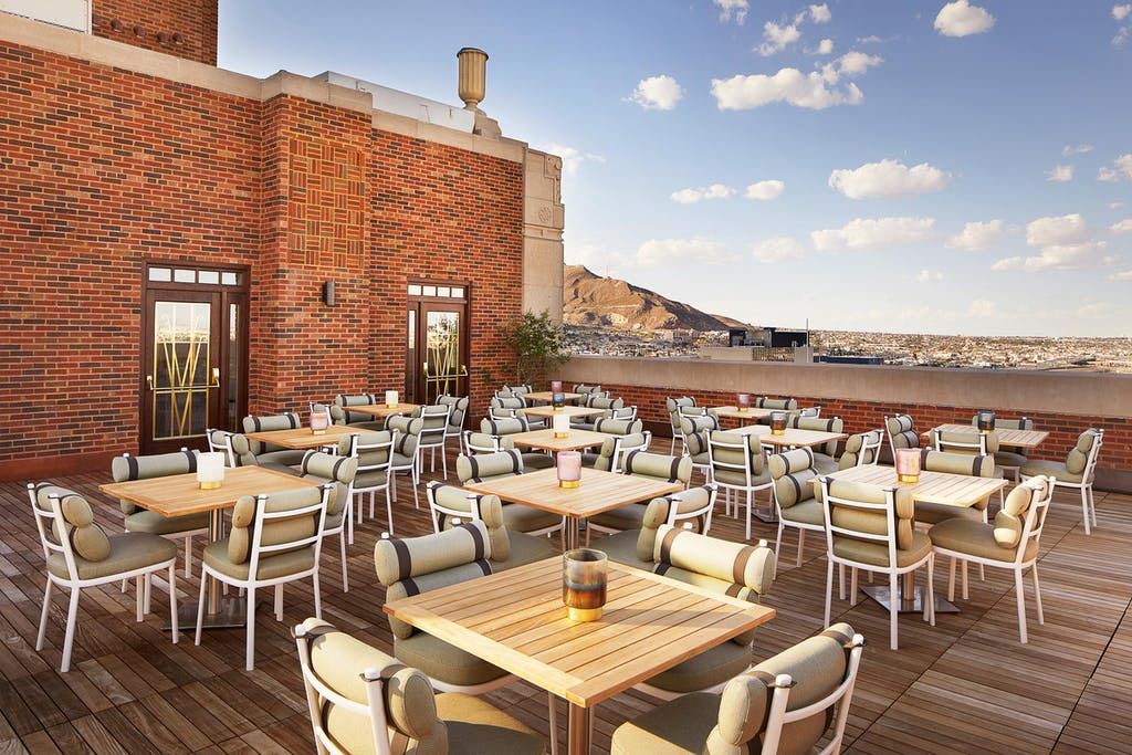 The La Perla rooftop bar at the Plaza Hotel Pioneer Park in El Paso.
