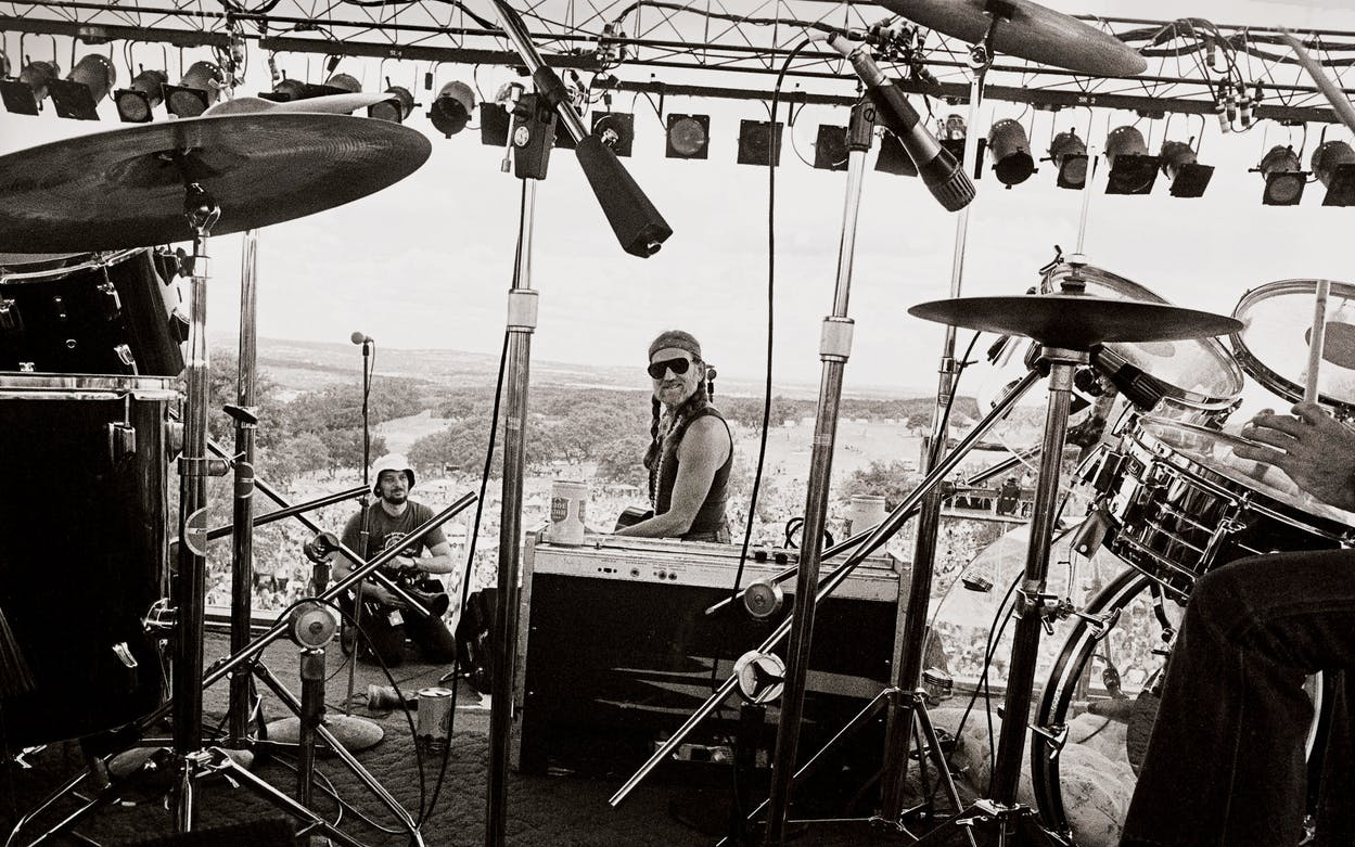 Willie Nelson onstage during the 1980 Fourth of July Picnic, at the Pedernales Country Club, in Spicewood.