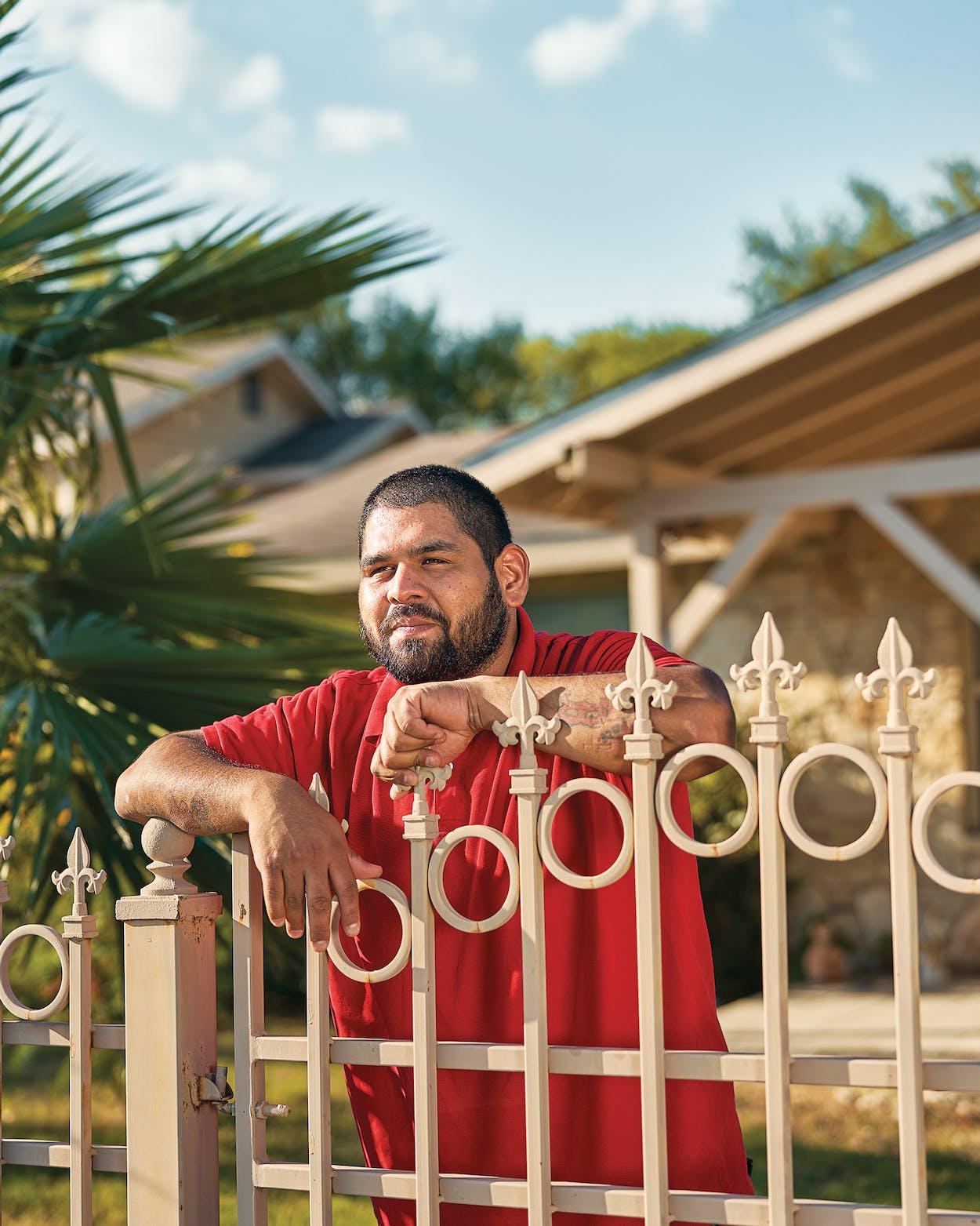 Peter Guzman outside his home in San Antonio on September 25, 2020.