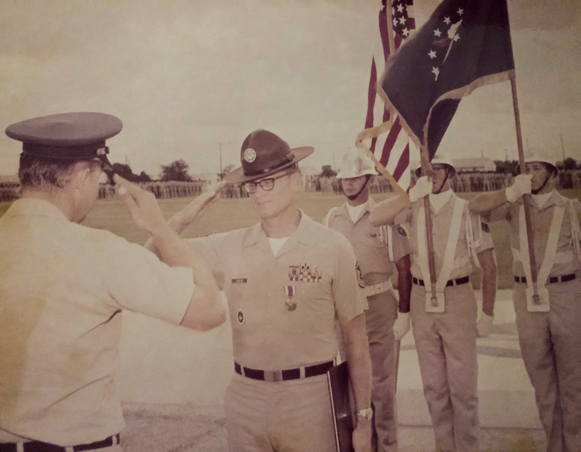 A soldier, Sergeant Edward Joseph League, at a promotion ceremony at Lackland in the sixties.