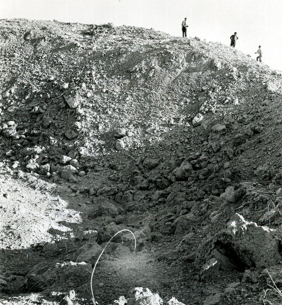 The crater that remained after the Lackland Air Force Base blast in 1963