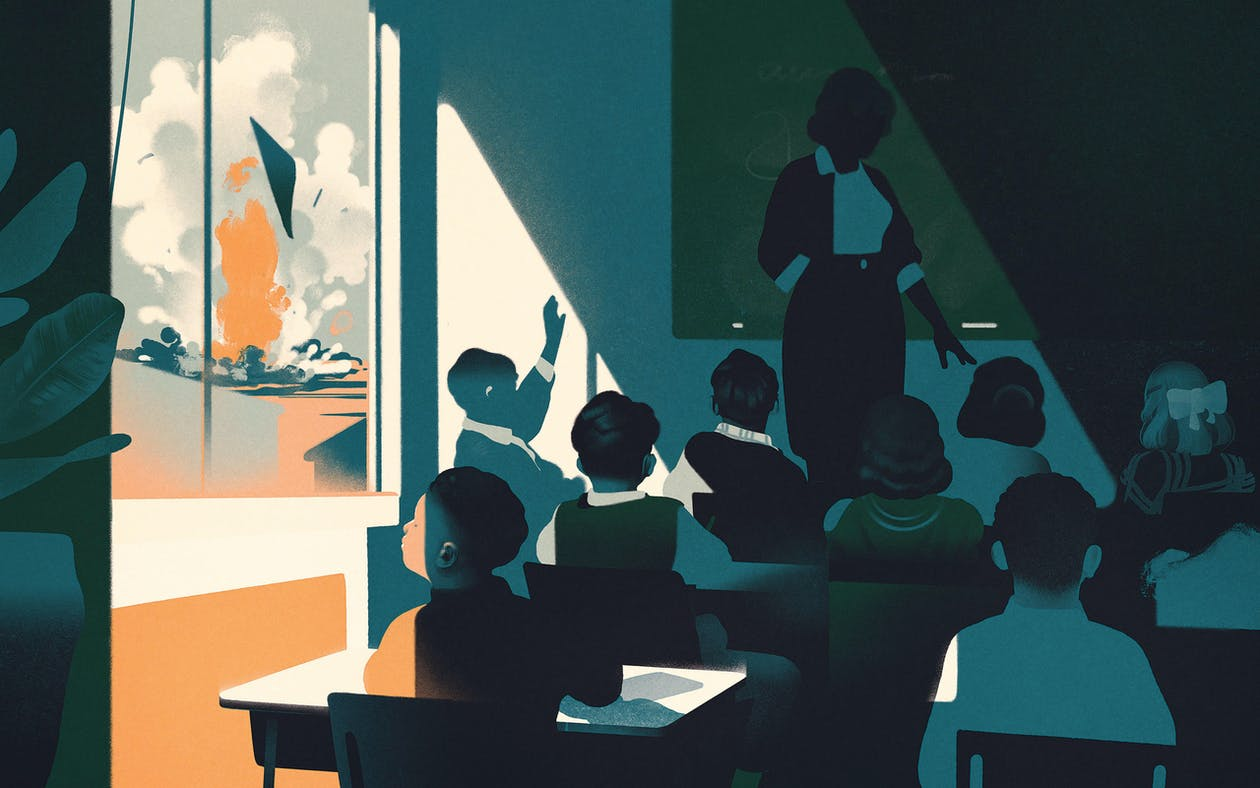 illustration of schoolchildren in a classroom while a blast occurs in the distance