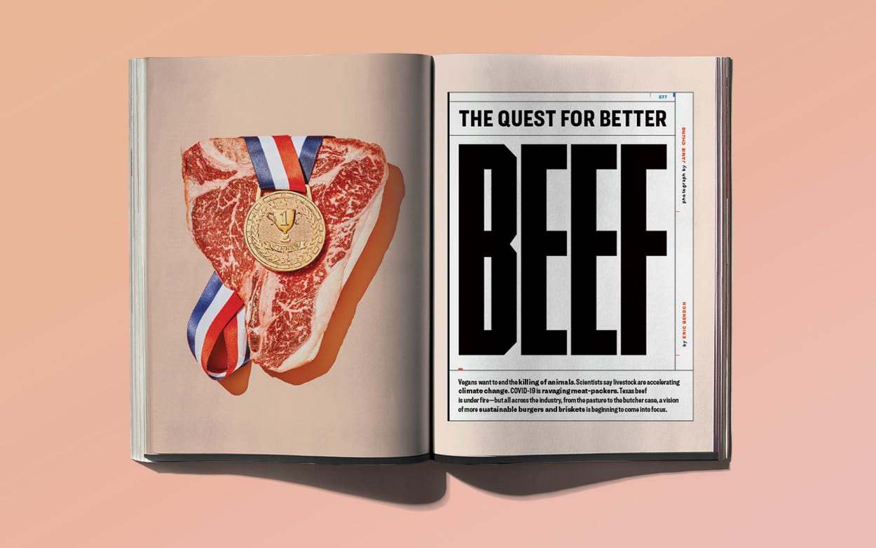"""Print layout for """"The Quest for Better Beef,"""" September 2020."""