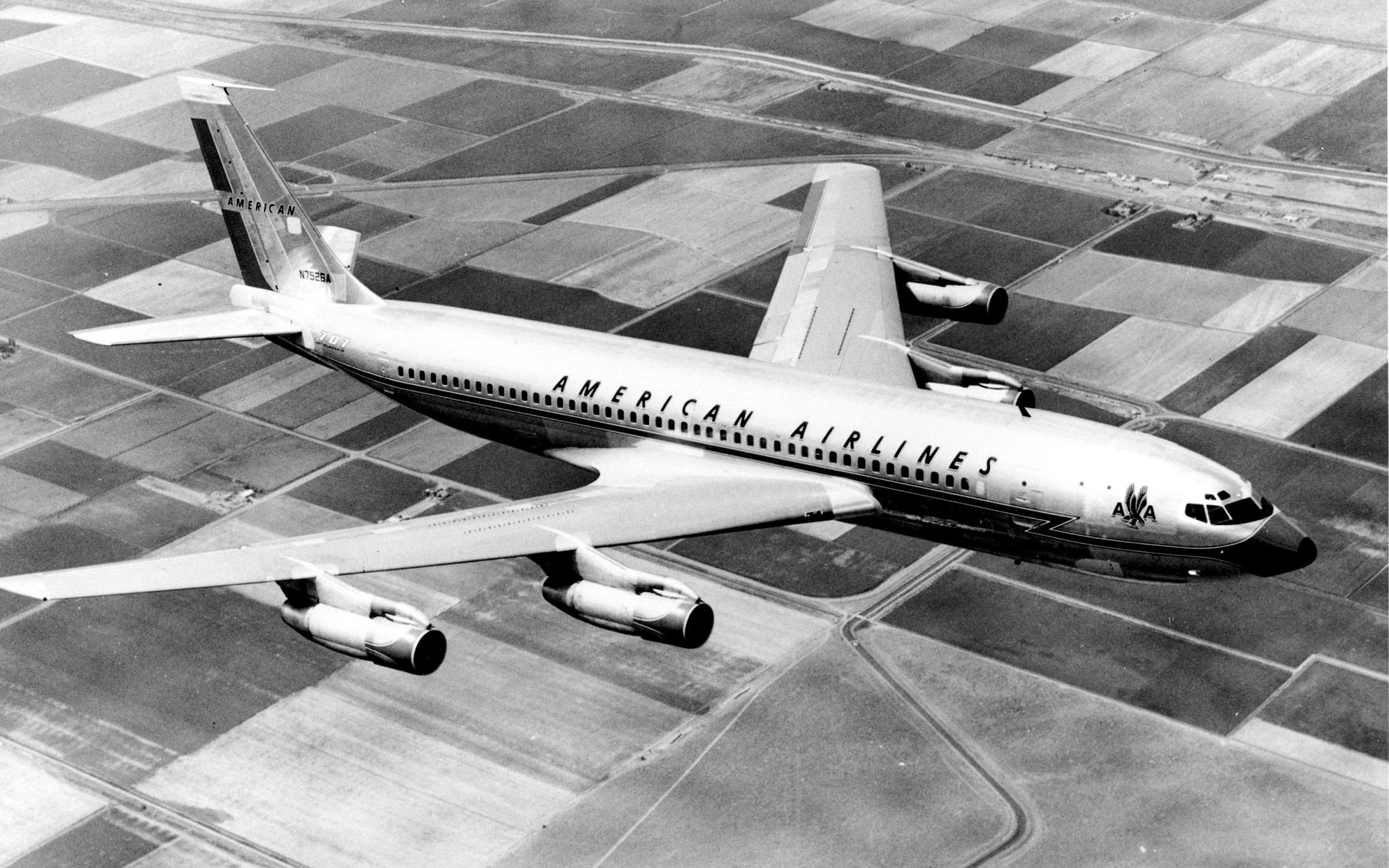 A 1960 photo of a an American Airlines Boeing 707-102-B in flight.