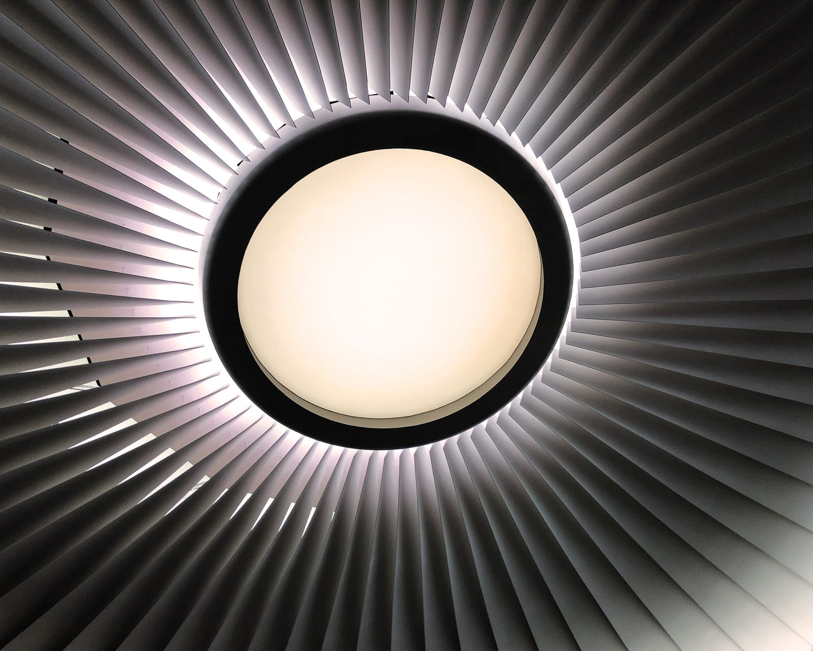 The ceiling of Skyview 8, the design of which was inspired by a jet engine.