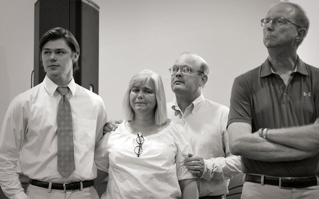 Tucker Brown, Penny and Chris Meek, and Kelly Brown at a press conference at Canadian's First United Methodist Church on July 27, 2017.