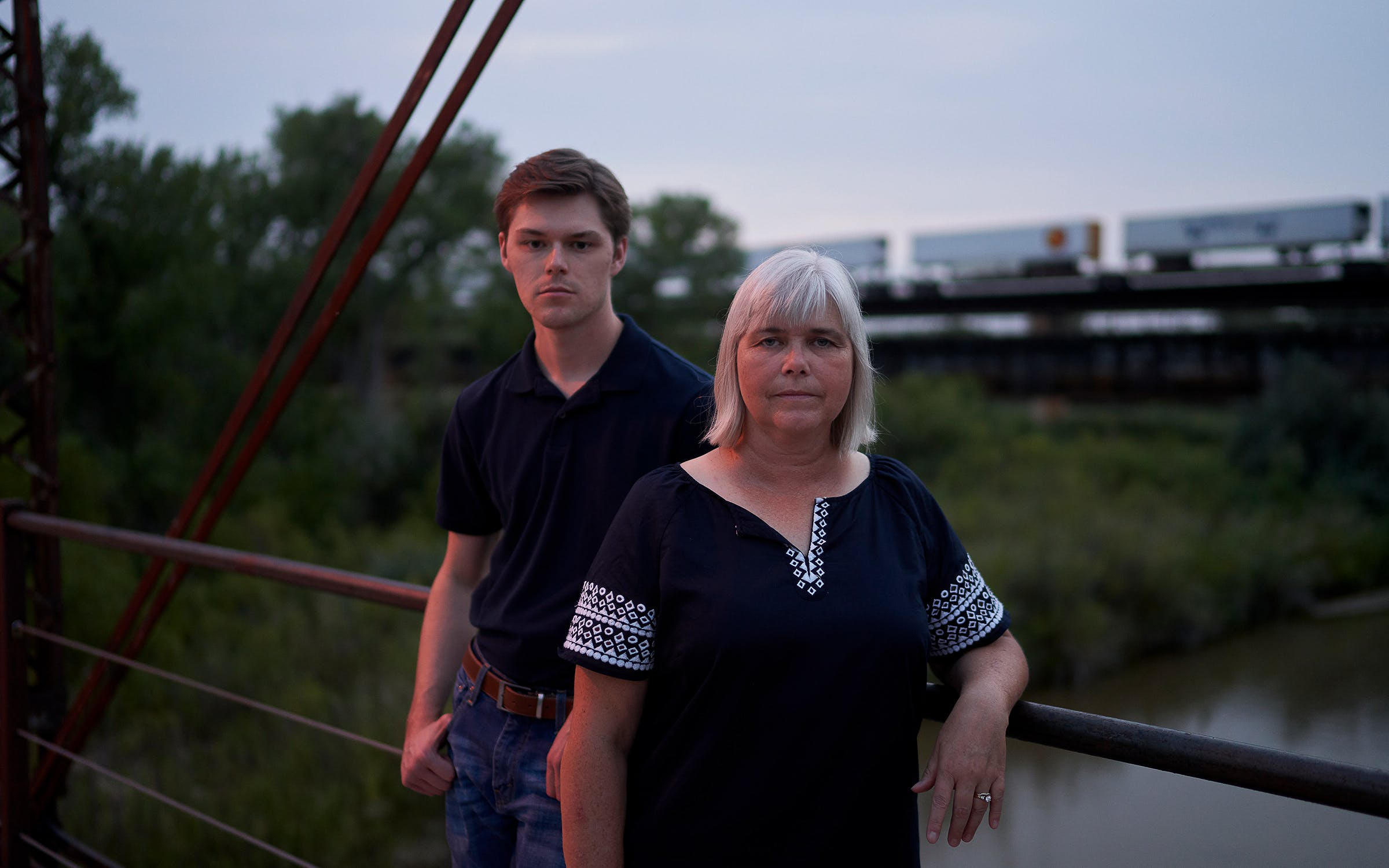 Tucker Brown and Penny Meek on the walking bridge in Canadian on August 14, 2020.