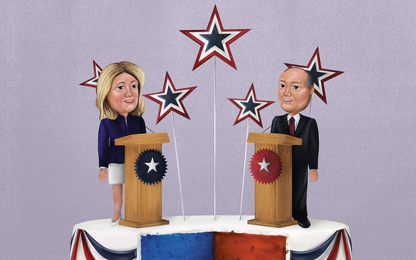 An illustration of Wendy Davis and Chip Roy at podiums on top of a cake that's been cut into, to reveal its half-red half-blue interior.