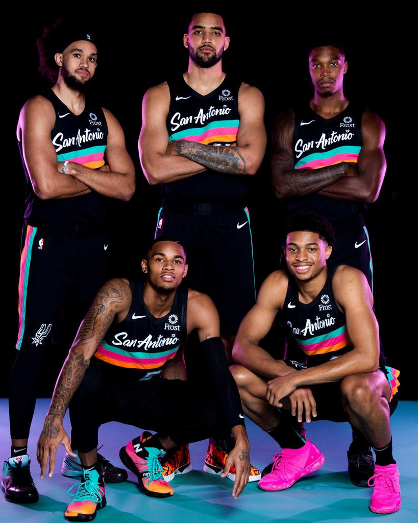 San Antonio Spurs players in the Nike City Edition Fiesta jerseys in San Antonio on November 4, 2020.