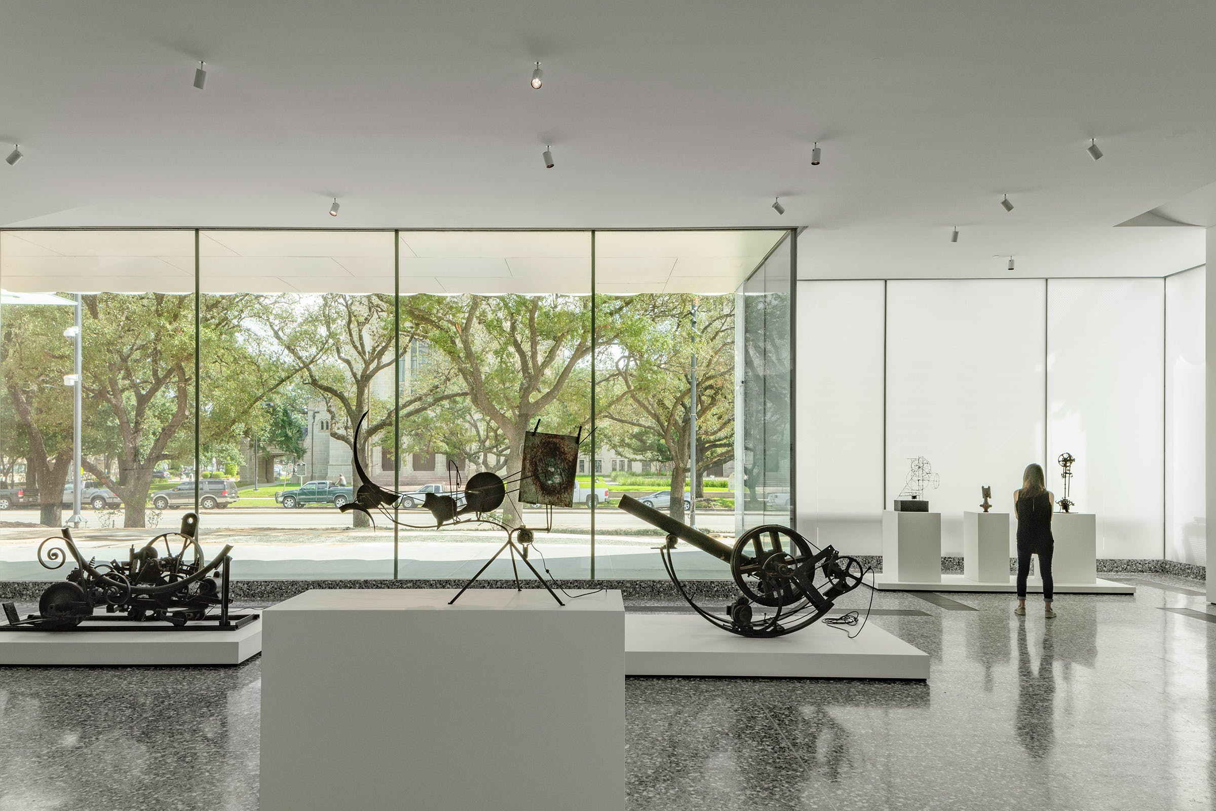 A street-level gallery in the Nancy and Rich Kinder Building, with works by Jean Tinguely.