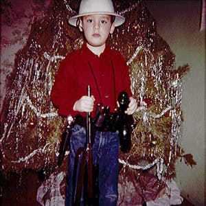 White as a young explorer at Christmas around 1961 in a photo taken by his father, Lawrence White.