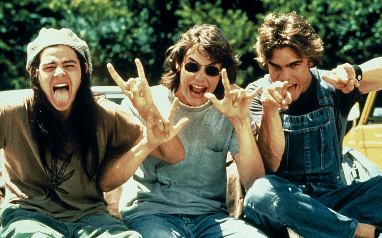 Rory Cochrane, Jason London, and Sasha Jenson as Slater, Pink and Don in Dazed and Confused, 1993.