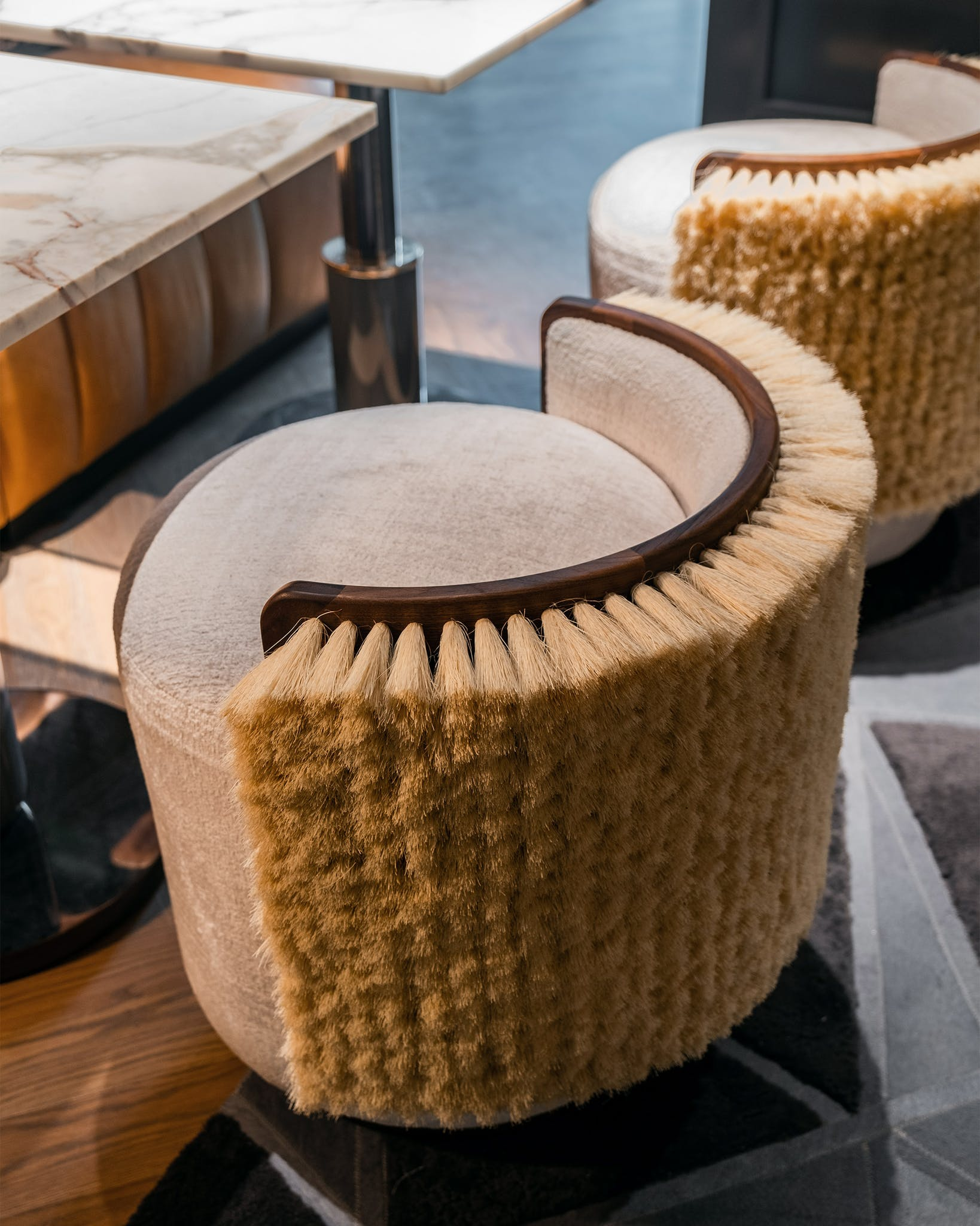 Most of the furnishings are as delightful as they are practical, with perhaps the exception of these whimsical Ad Hoc-designed stools: if you lean too far back, you might topple over.
