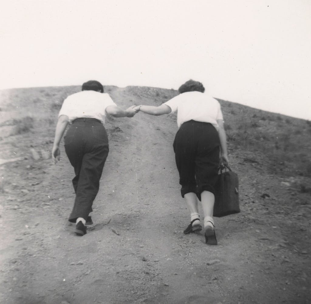 walking together gelatin print