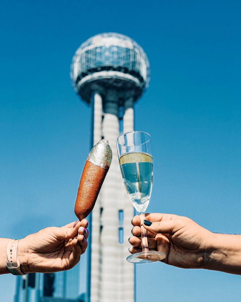 a gold-topped corn dog is available for a high price in San Antonio