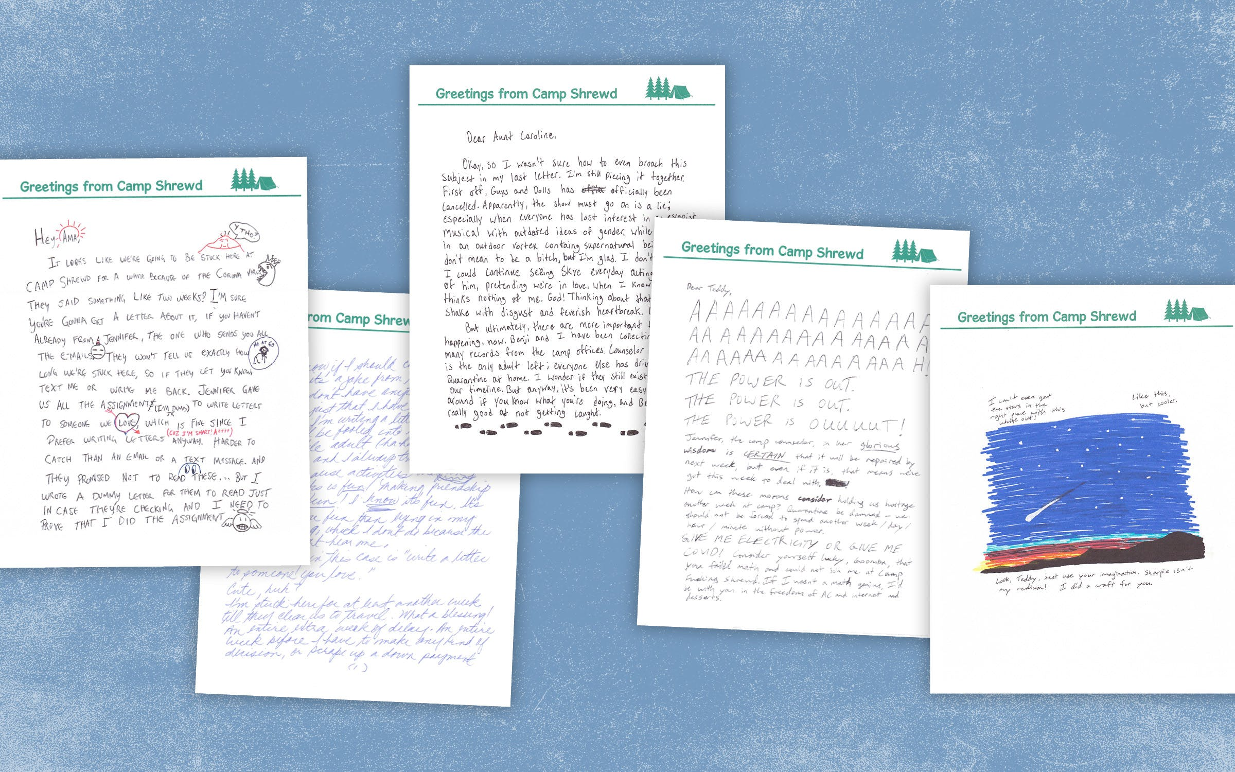 "Camp Shrewd is an interactive play-by-mail experience based on a children's summer camp setting that sends ""audience members"" handwritten letters from their assigned characters each week."