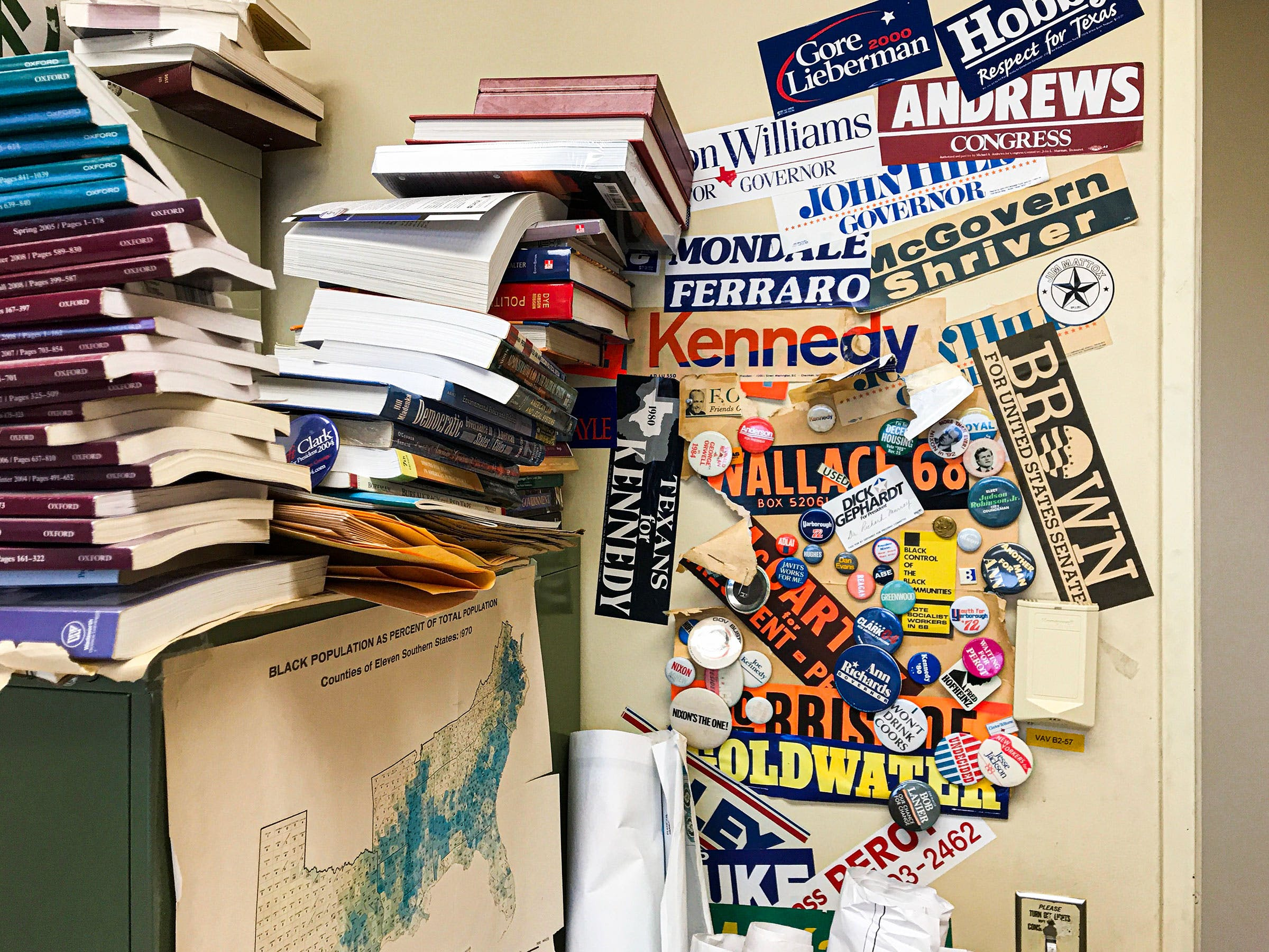After 55 years, Professor Murray's office is like an archeological dig of Texas political history.