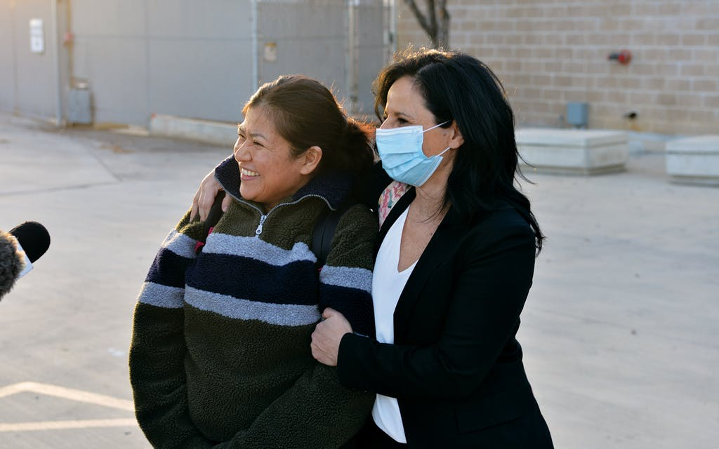 Rosa Jimenez with her attorney Vanessa Potkin shortly after her release on January 21, 2021.