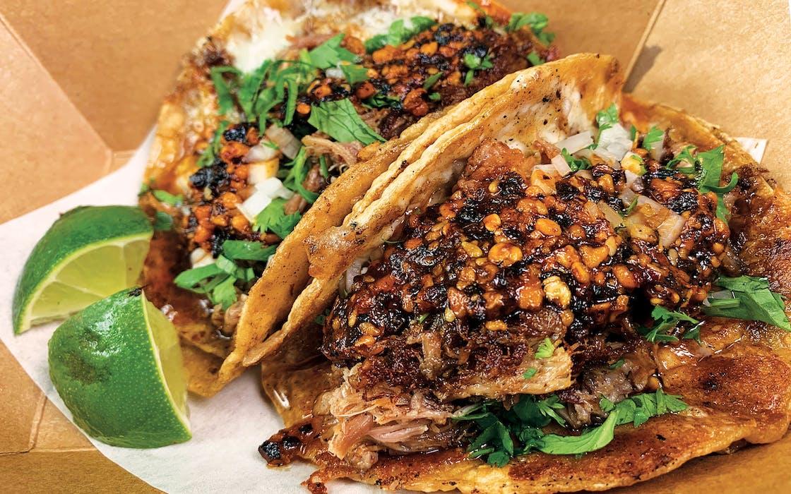 Salsa macha on the carnitas tacos at Paprika ATX in Austin.