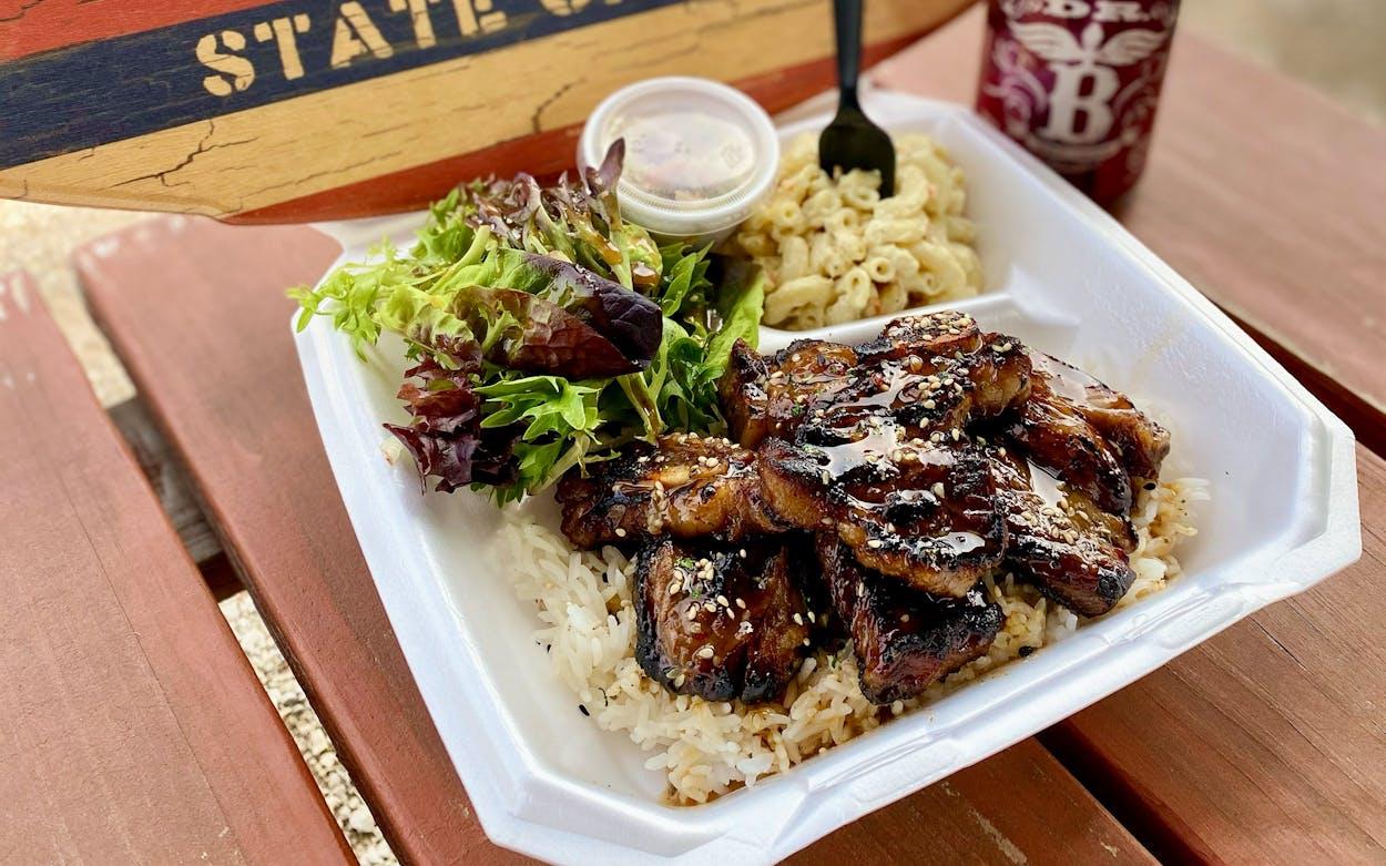 a plate lunch of Hawaiian BBQ