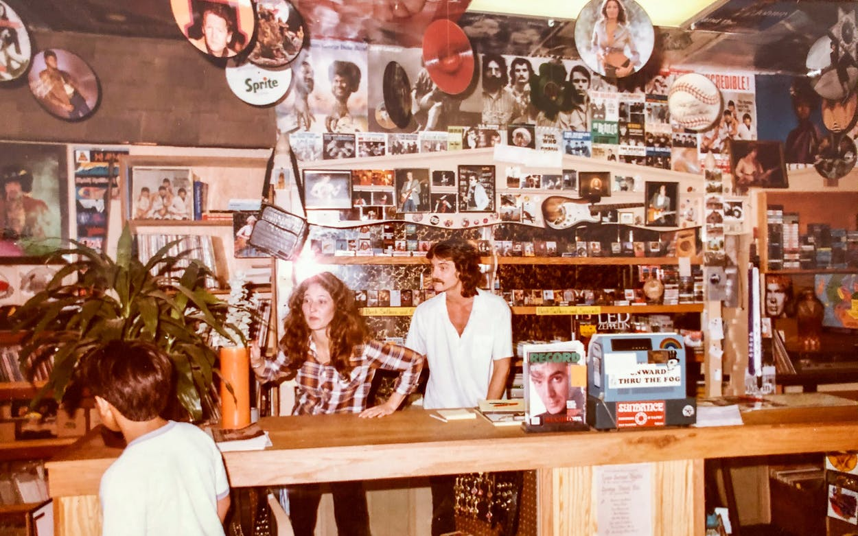 Nancy and Bobby Barnard behind the counter in 1986 at Sundance Records' second location at 138 N LBJ Dr., in San Marcos.
