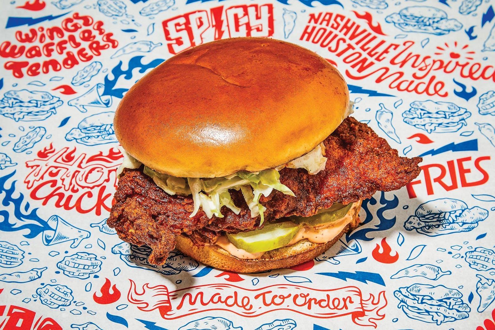 The Hot Chicken Sammich at Mico's Hot Chicken, in Houston.