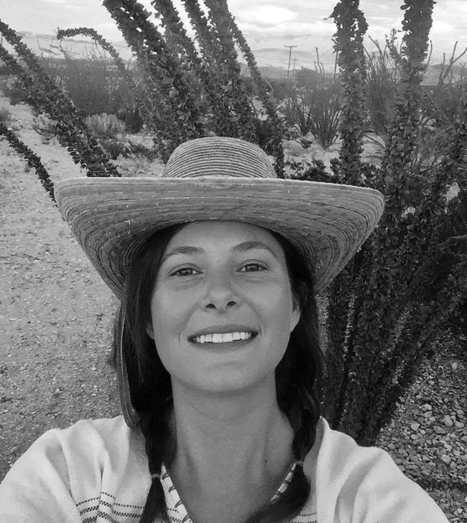 Katy Schwartz in front of her favorite ocotillo in Terlingua in September 2018.