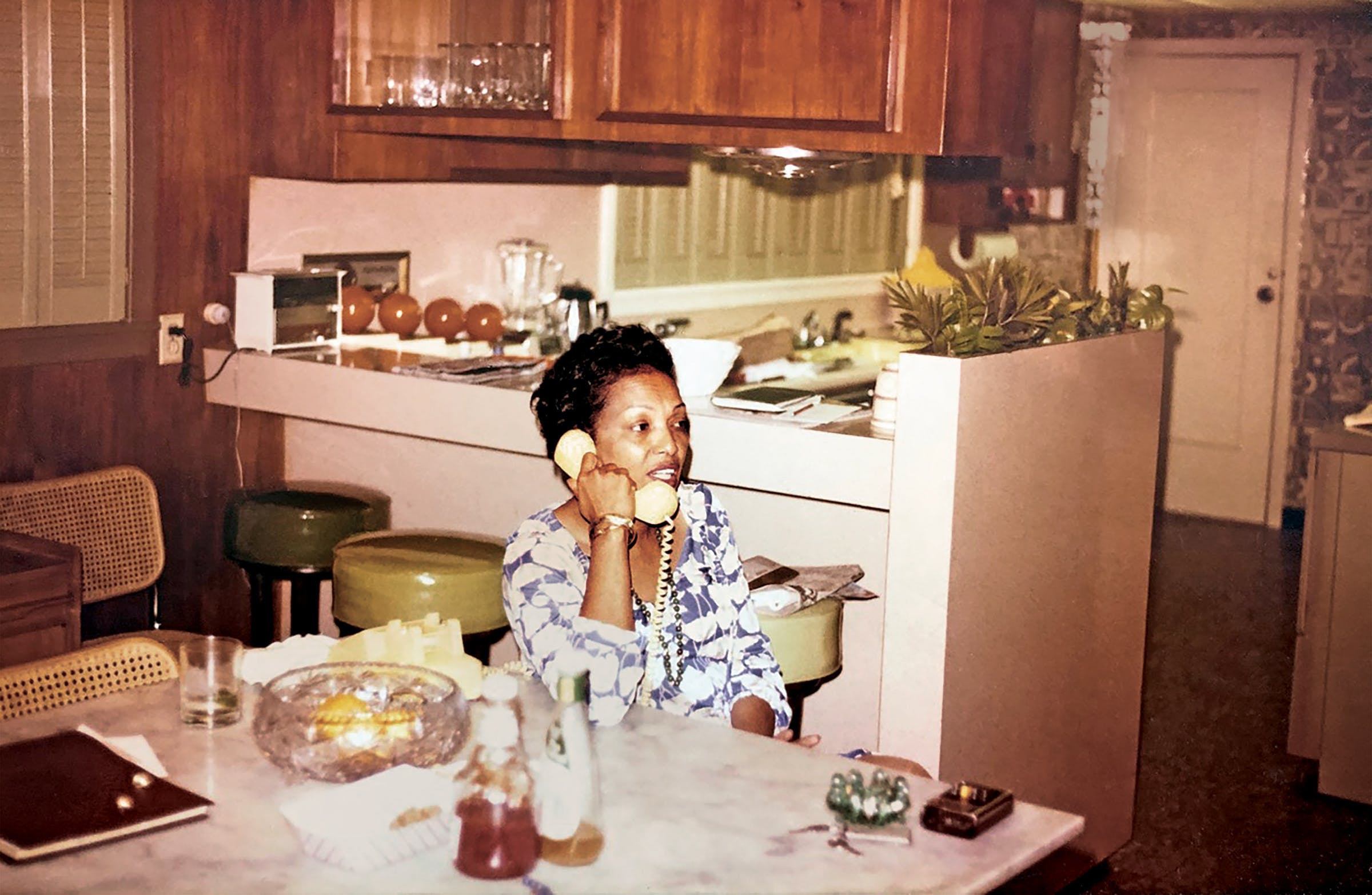 Drucie Chase at the breakfast table, circa 1975.