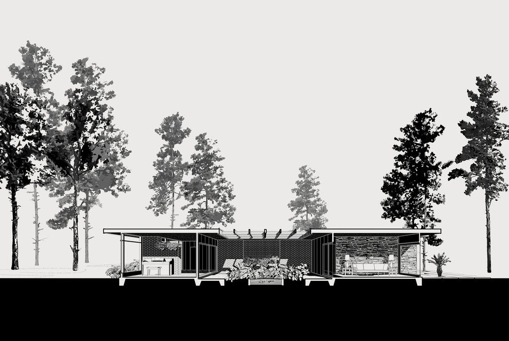 renderings of the house before and after John S. Chase remodeled it