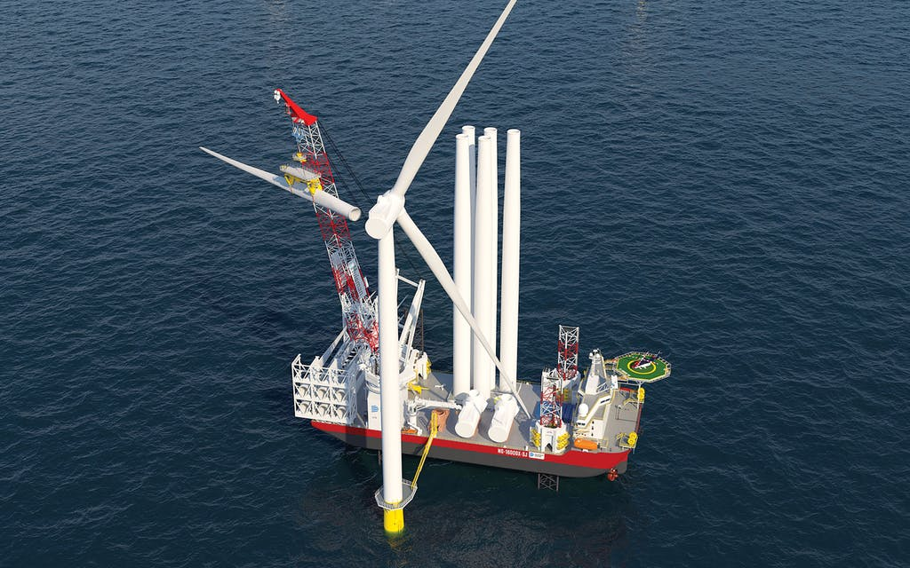 A rendering of the wind-turbine-installation ship.