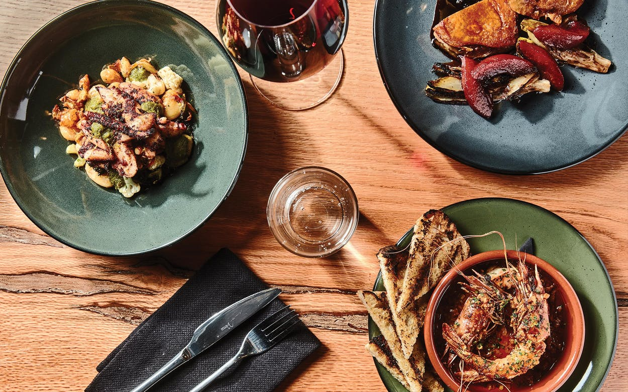 Tapas-style offerings from Ounce, in Dallas, include grilled octopus, duck confit, and prawns a la plancha.