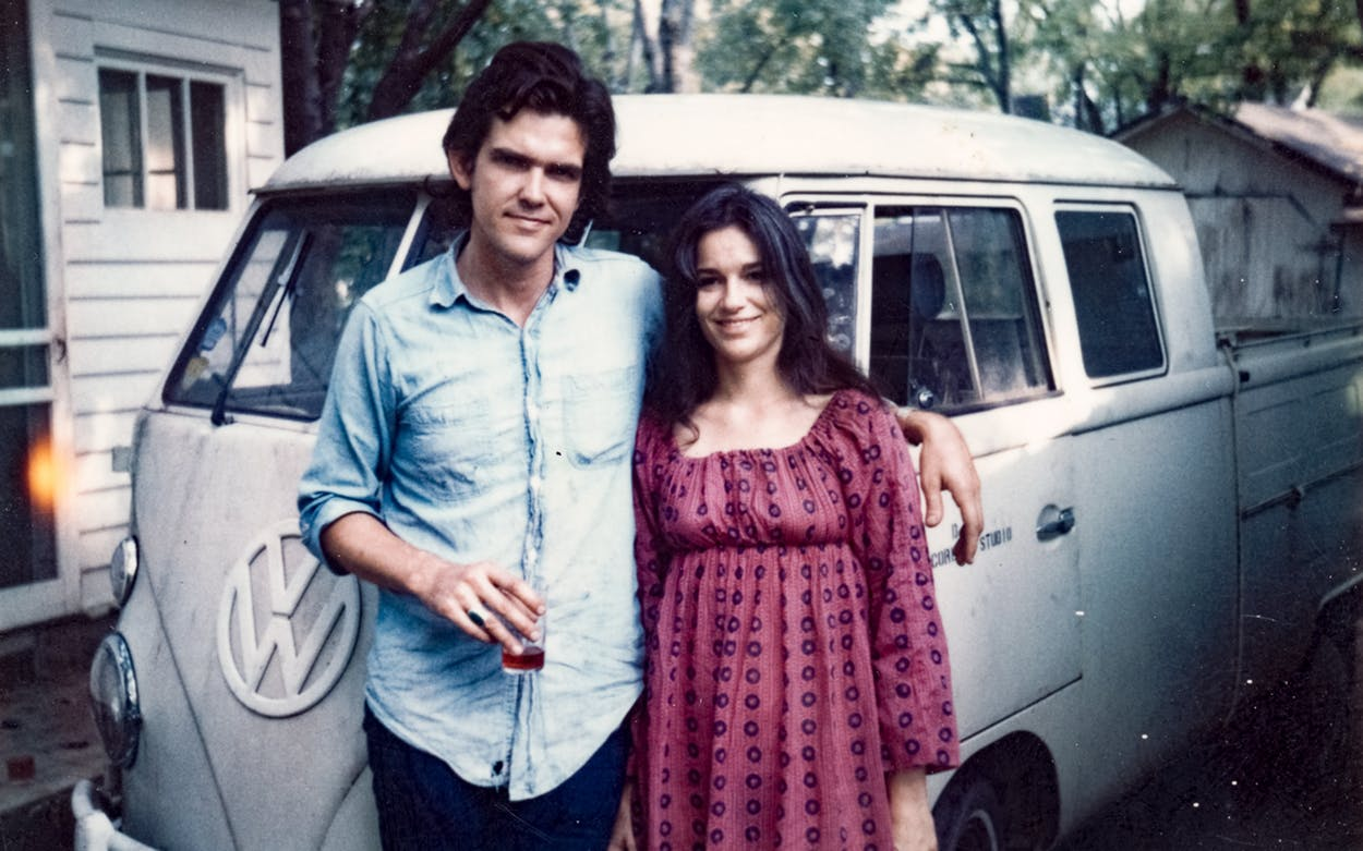 Guy and Susanna Clark with their 1963 Volkswagen at their house in East Nashville in 1972.