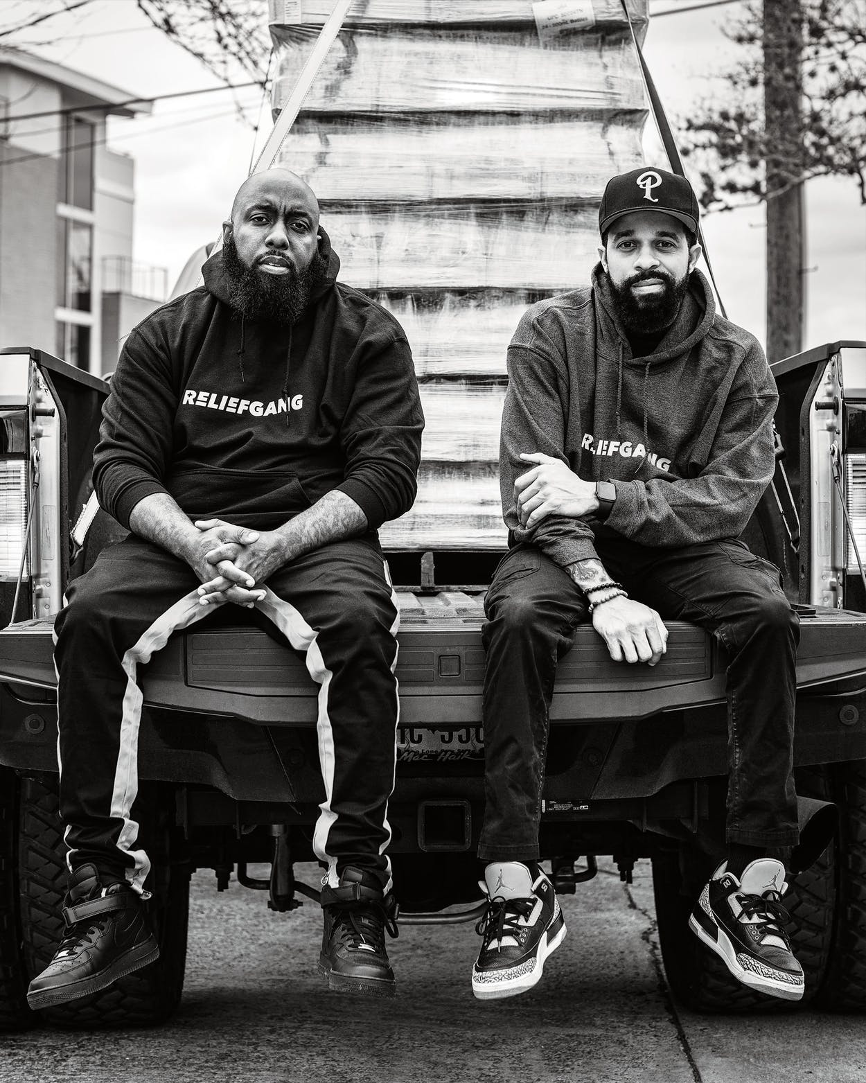Trae tha Truth and DJ Mr. Rogers in Houston in February 2021.