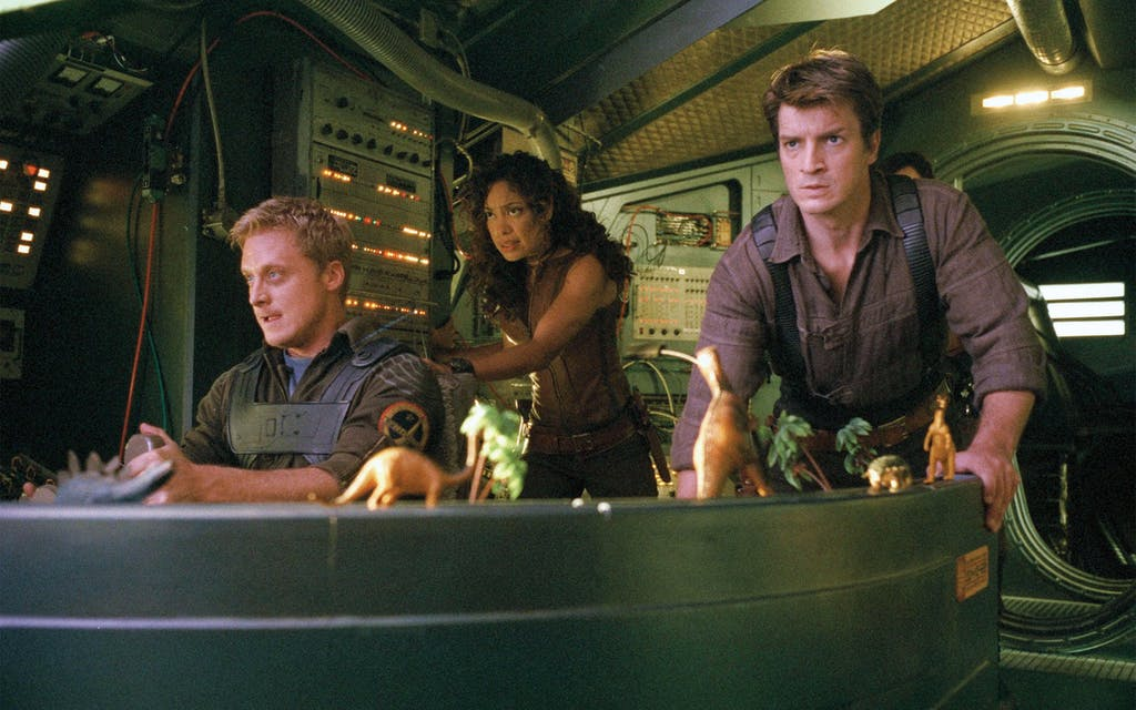 Tudyk as Wash (left) with Gina Torres and Nathan Fillion in Serenity in 2005