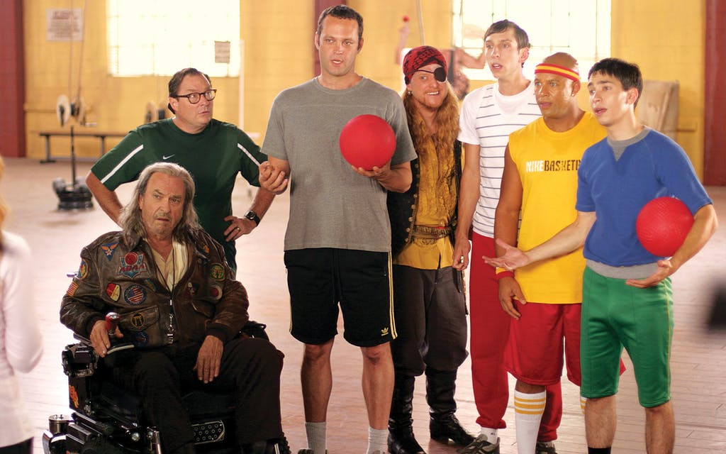 Tudyk, fourth from left, as Steve the Pirate in Dodgeball: A True Underdog Story in 2004 with Rip Torn, Stephen Root, Vince Vaughn, Joel Moore, Chris Williams and Justin Long.