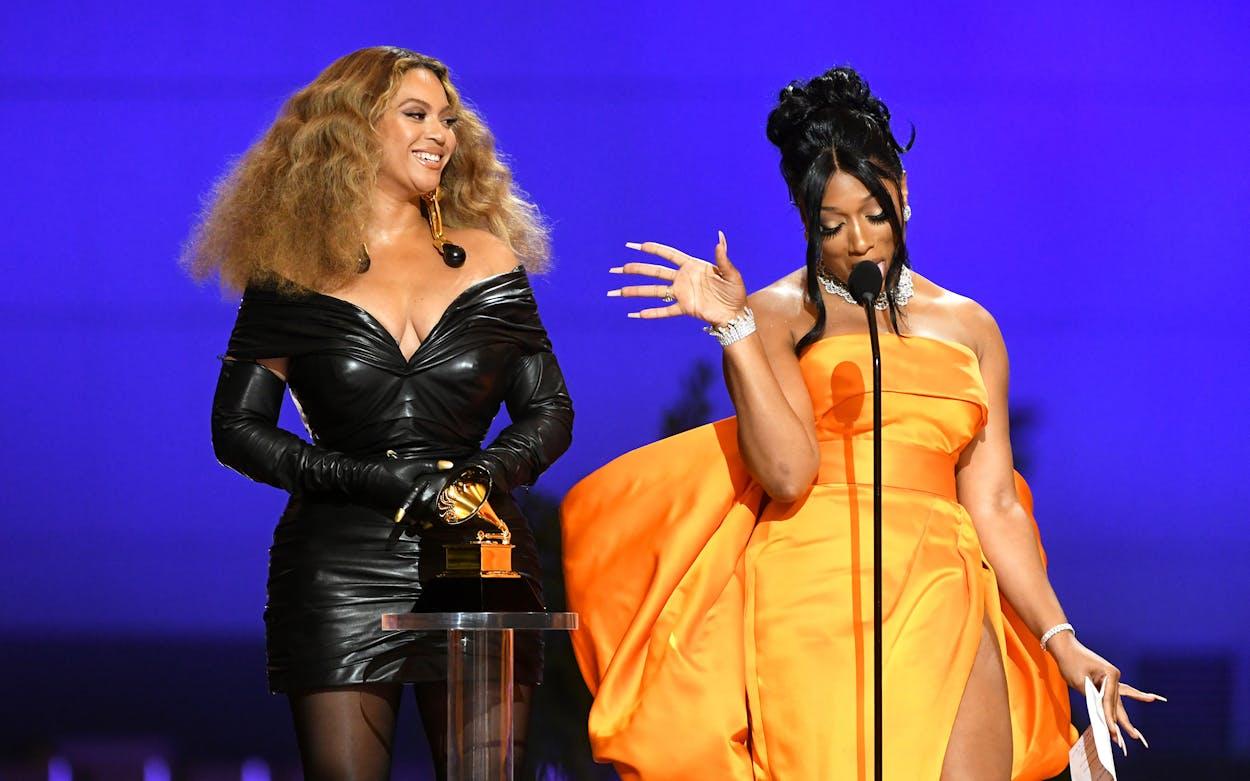 Beyoncé and Megan Thee Stallion accept Grammy