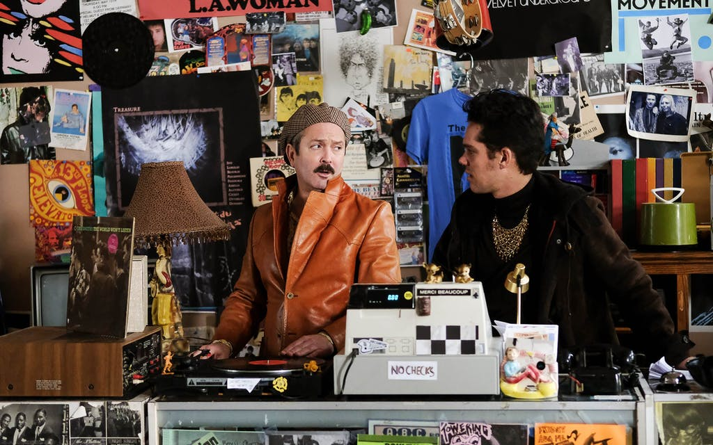 Thomas Lennon as Uncle Dick and Ellar Coltrane as Dean in the drama/comedy Shoplifters of the World, a RLJE Films release.