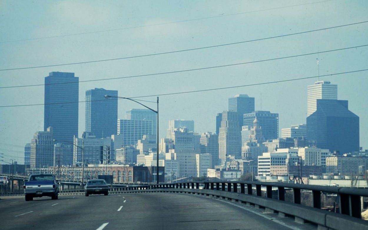 Houston skyline, in the 1970s.
