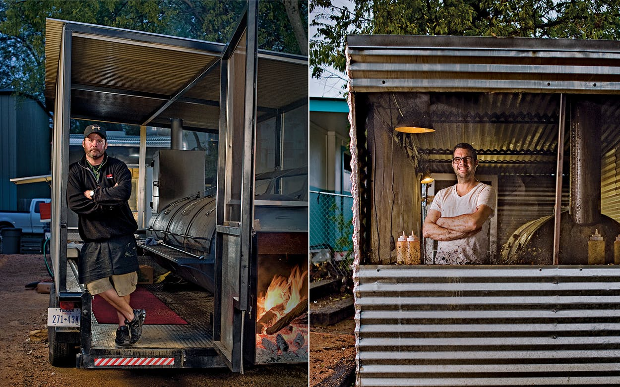 John Mueller (above left) at his trailer, in South Austin. Aaron Franklin (above right) at his restaurant, in East Austin.
