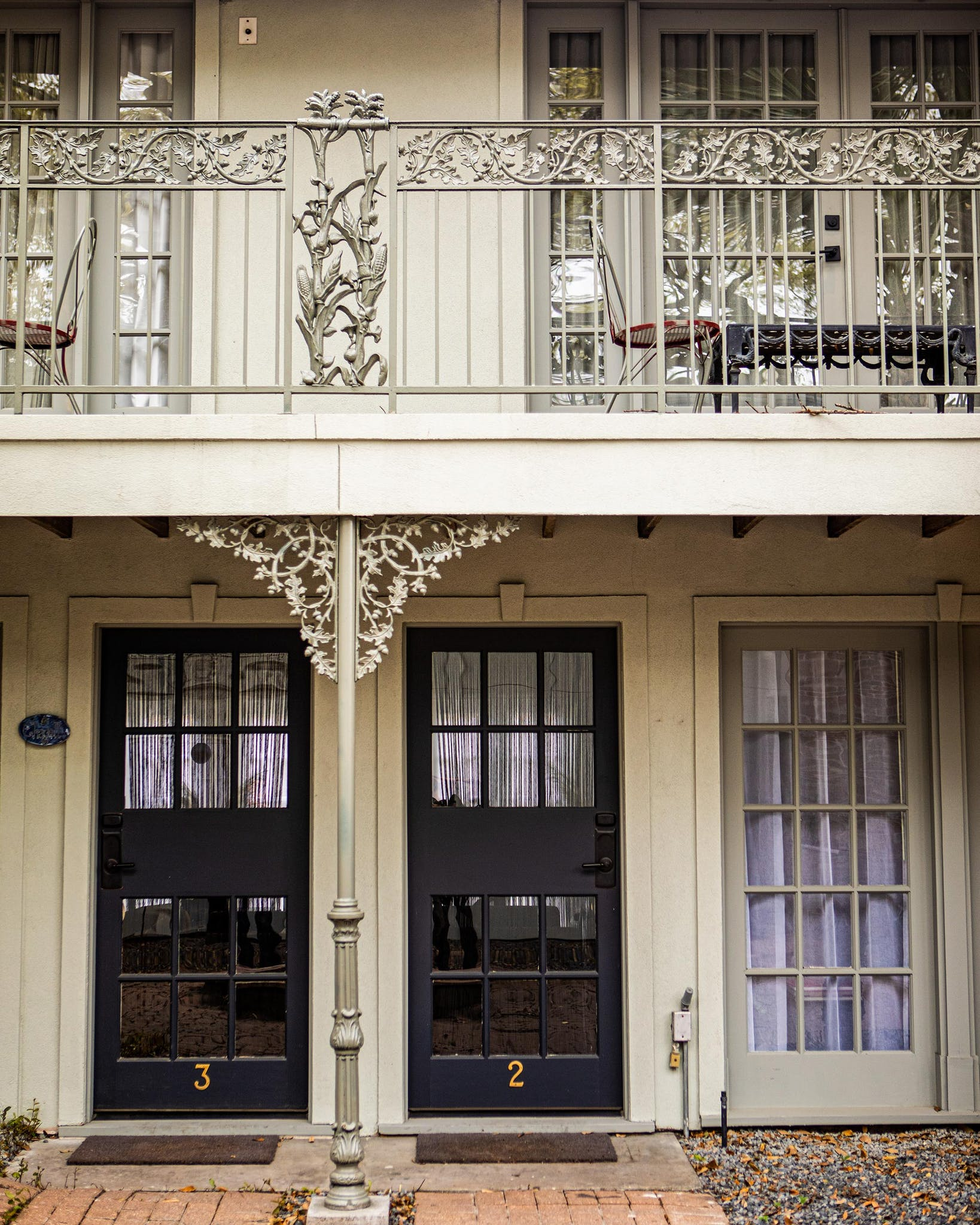 If the courtyard of the garden bungalows feels like the French Quarter, it's no coincidence: Steve brought the wrought iron over from New Orleans, his hometown.